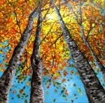 Acrylic painting on canvas, inspired by the colors and light of early fall in the West Coast.