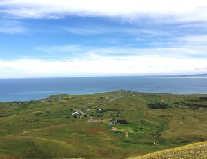 View of the Magdalen Islands and the houses of the Madelinots.
